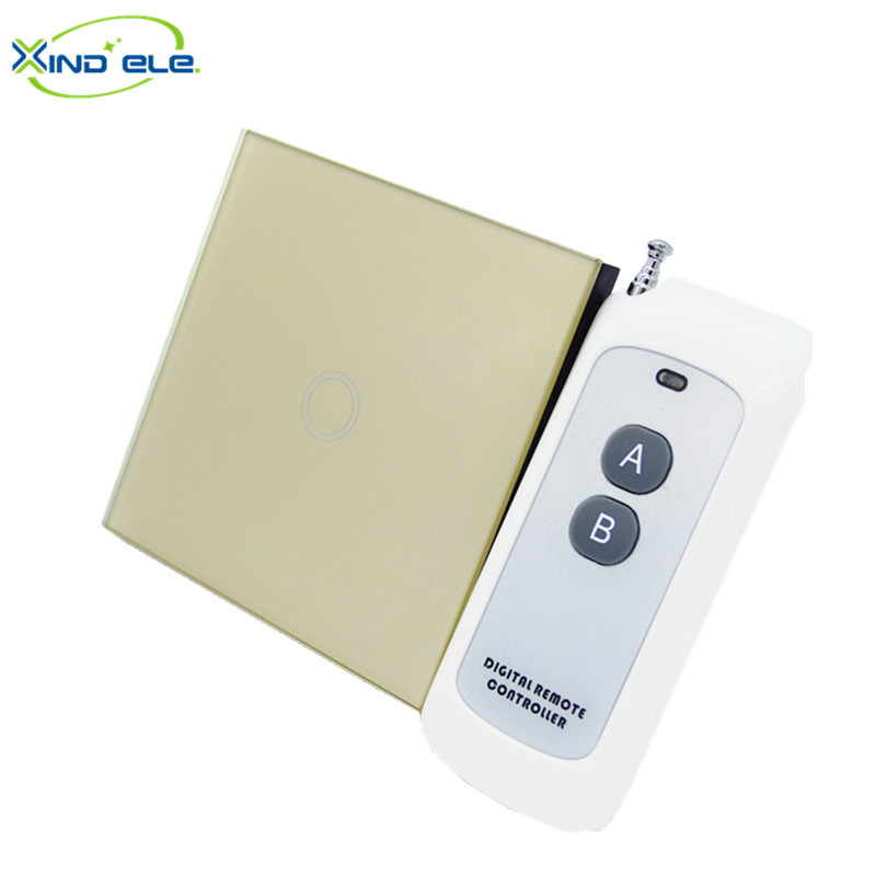 XIND ELE standard EU, 1 Gang 1 Way Toughened crystal glass panel 110V - 240V Screen Wall remote Touch Switch #XDTH01G+BLR-2# xind ele crystal glass panel smart home touch light wall switch with remote controller interruptor de luz xdth03b blr 8