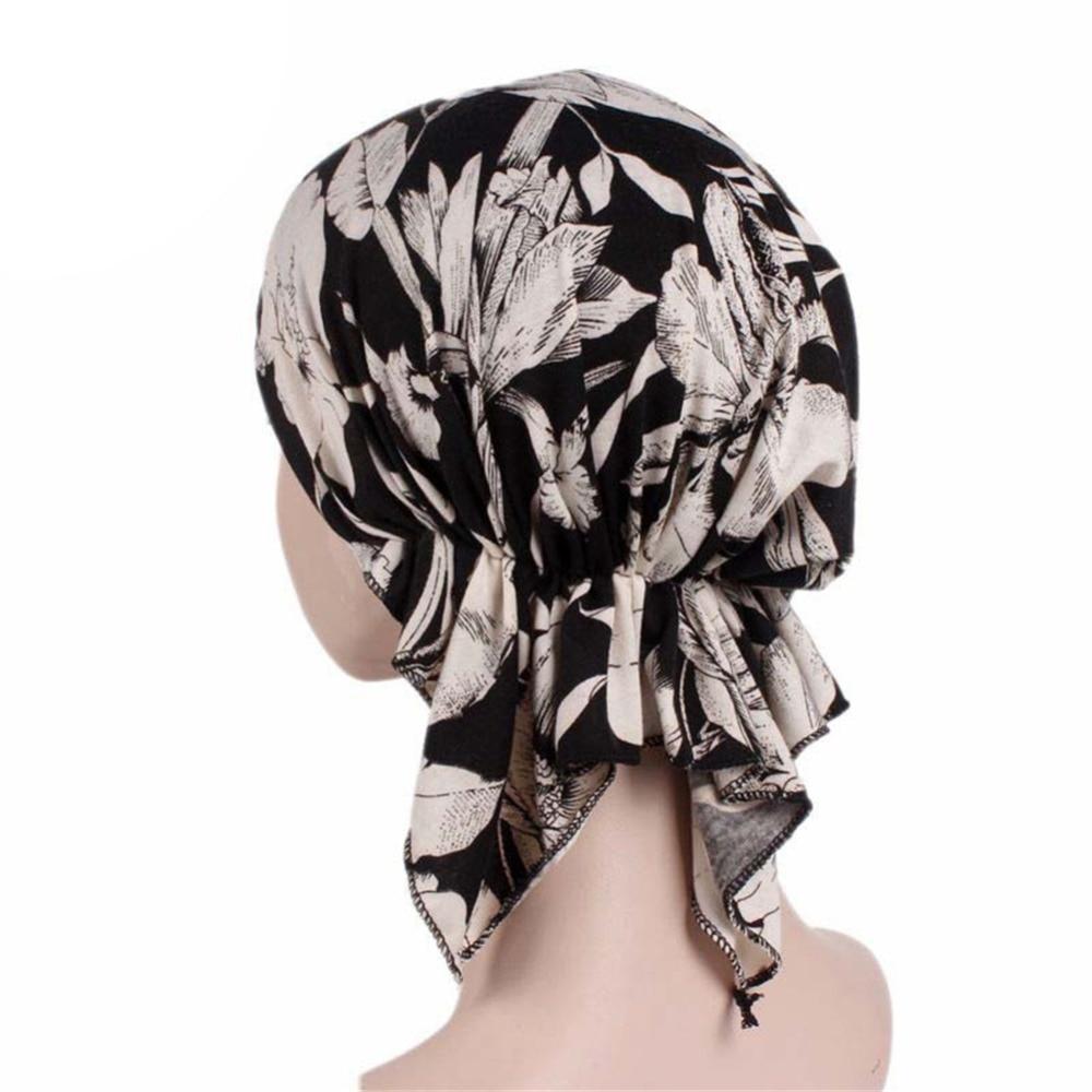 Women Flower Print Elastic Pre Tied Scarf Cap Chemotherapy Bandana Hat Ladies Headwear   Beanie   Turban Hair Accessories