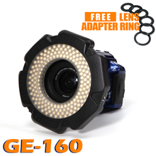 85% CRI 160 Chips Dimmable LED Ring Light for DSLR DV Camcorder Video 5600K AA Battery Power Source Free Lens Adapter Ring