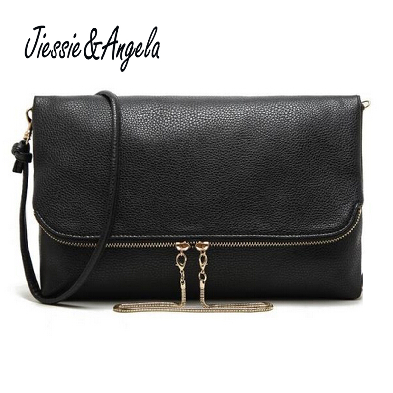 Jiessie&Angela Casual Women Leather Handbag Black Solid Day Clutch Bags For Women Shoulde Cross Body Bags Messenger Bags