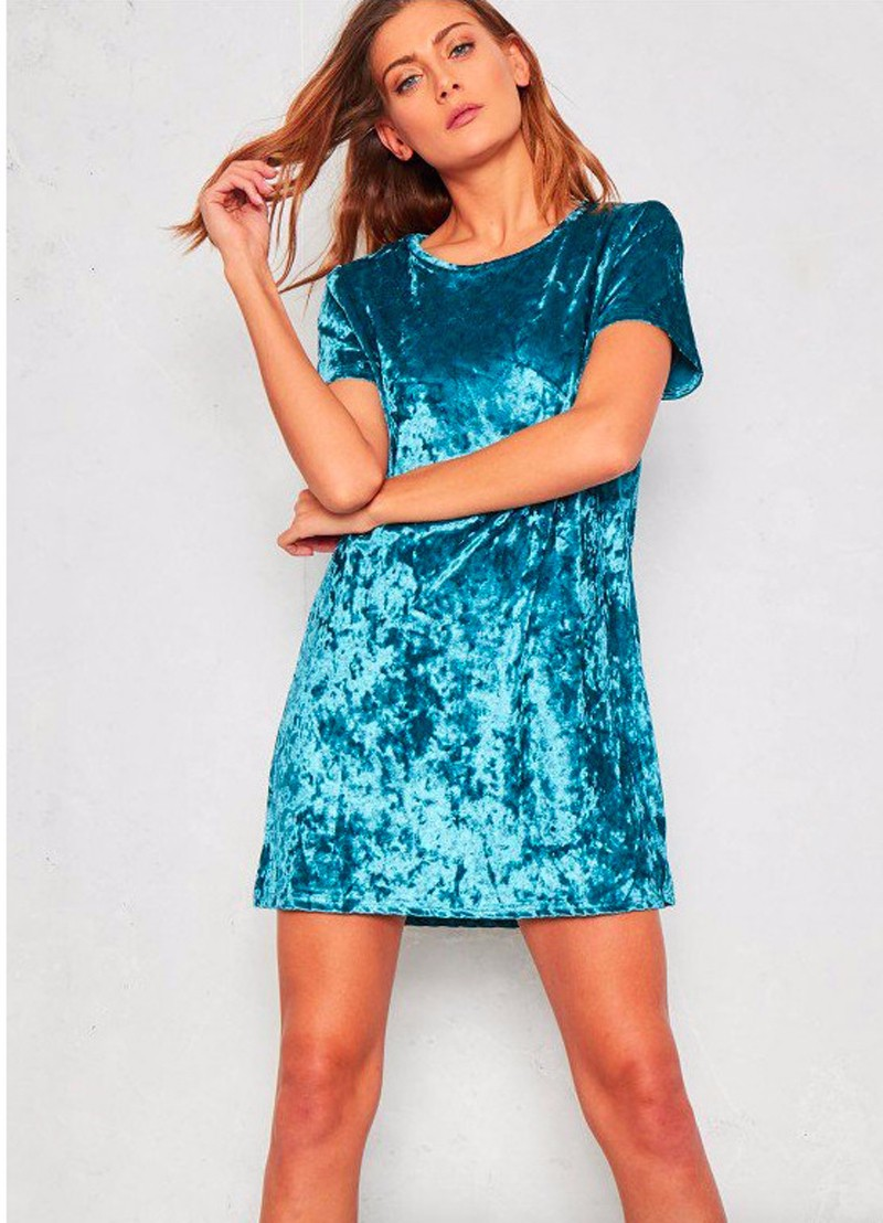 Short Sleeve Velvet Short Casual Dress 8