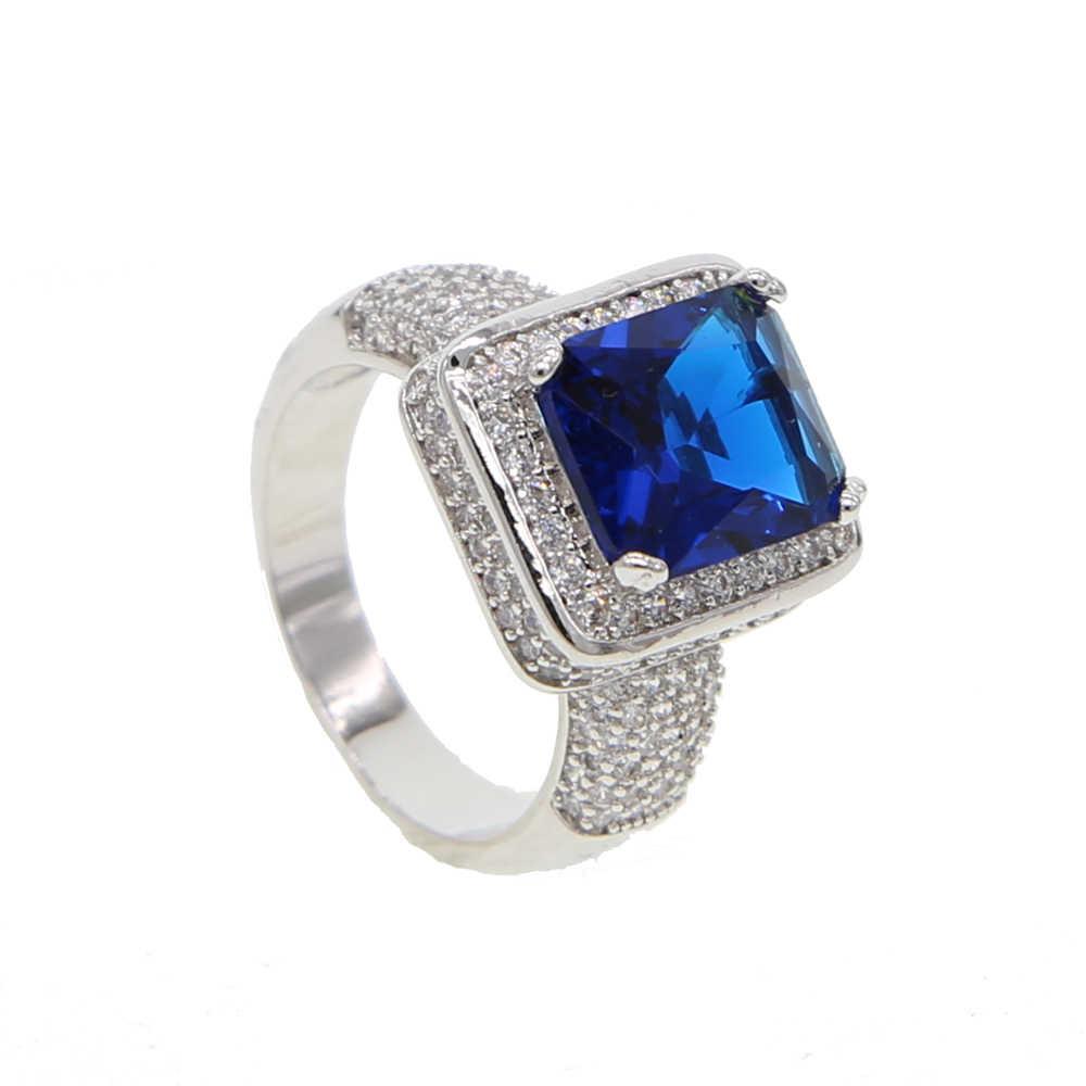2017 différentes couleurs haute qualité micro pavé AAA cz grand diamant simulé hommes or rhodium anneaux