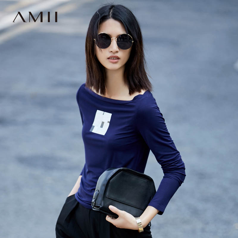 Amii Minimalist Casual Women Vogue T-Shirts 2018 Print Slash Neck Long Sleeve Tees Tops