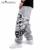 2016 otoño hip hop estilo de los hombres pantalones casuales completos negro/gris de impresión cráneo de la manera floja grande del tamaño pantalones largos 19m0005
