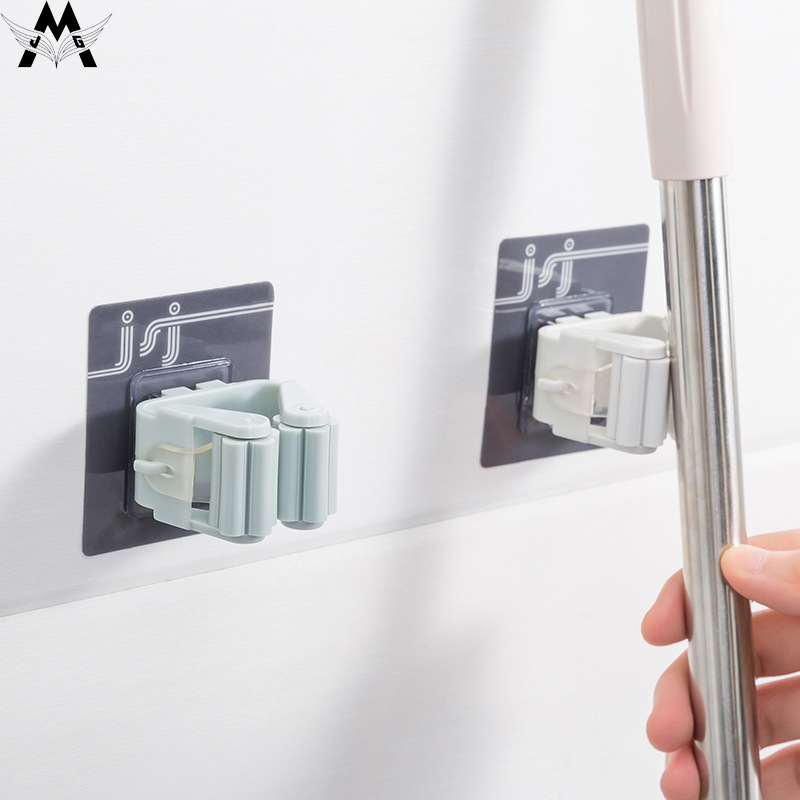 MeiJiaG Magic Strong Hook Adhesive Multi-Purpose Hooks Wall Mounted Mop Organizer Holder Rack Brush Broom Kitchen Bathroom Hooks