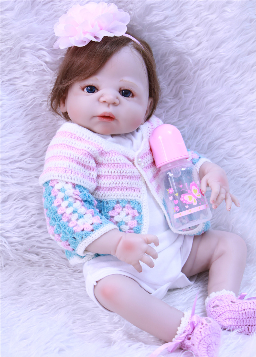 23 reborn girl doll full body silicone reborn baby can enter water with pacifier bottle bebe alive reborn menina bonecas23 reborn girl doll full body silicone reborn baby can enter water with pacifier bottle bebe alive reborn menina bonecas