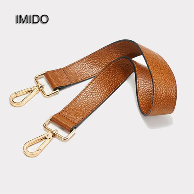 IMIDO 63cm Short Genuine Leather bag Strap for Handbags Women replacement straps shoulder belt accessories parts Brown STP025 imido 64cm leather handbag belt bag short strap wide shoulder bag strap replacement flower accessory parts brand design stp035