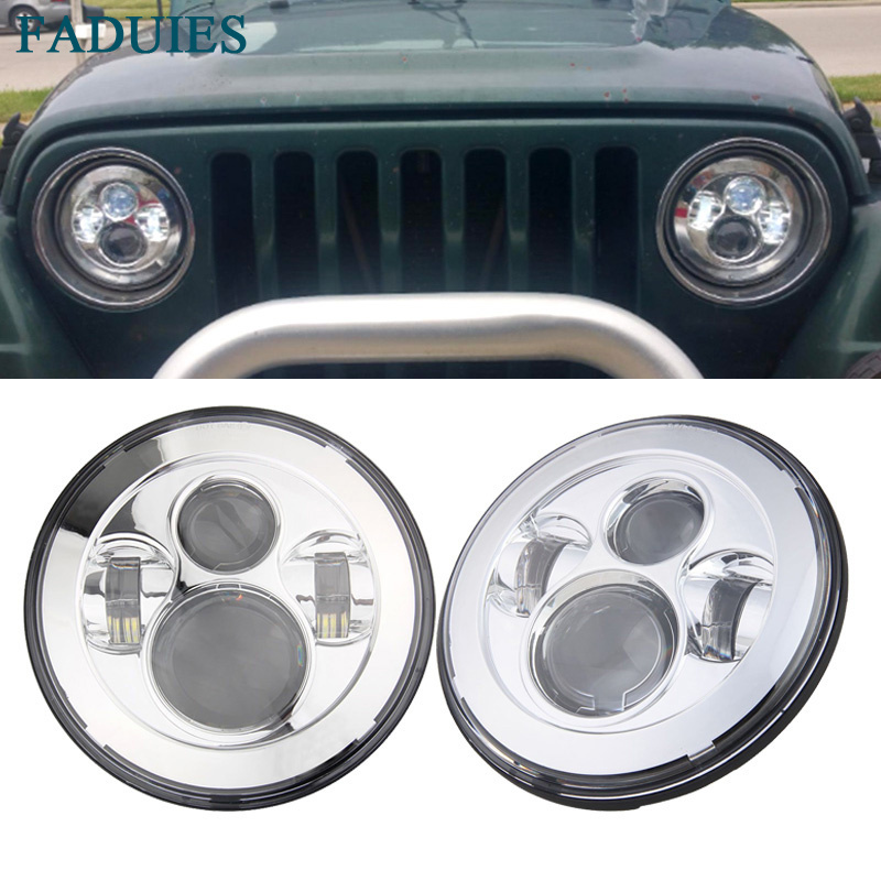 For Lada 4x4 urban Niva 7 Chrome LED H4 headlight daymaker lamps headlamp for Jeep Wrangler JK TJ LJ Land Rover Defender 75w 5d 7 inch round led projector daymaker headlight for jeep wrangler jk land rover defender 90