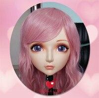 (DM001) Kadın Tatlı Kız Reçine Yarım Baş Kigurumi BJD Maske Cosplay Japon Anime Rol Lolita Gerçekçi Gerçek Maske Crossdress Doll
