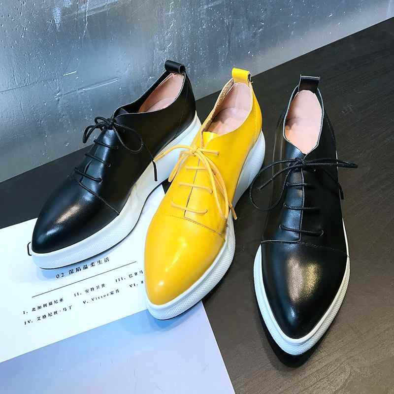 Marka sivri burun kalın alt katı dantel kadar rahat ayakkabılar artan sneaker tiki tarzı platformu kadın vulkanize ayakkabı L7f9