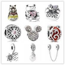 c02abe002b97 Btuamb Punk Color plata Mickey amor corazón estrella flor cristal simulado  perla encanto cuentas Fit Pandora