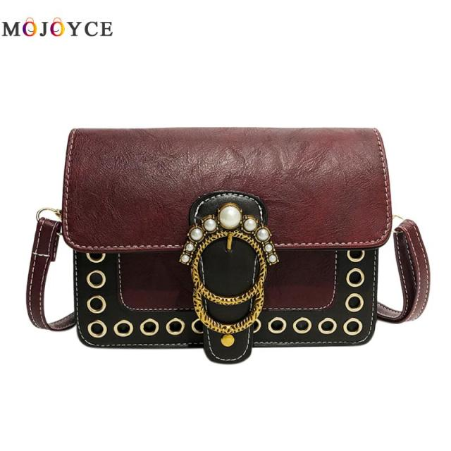 PU Leather Vintage Pearl Women Handbags Retro Sling Shoulder Bag for Girls Casual Female Crossbody Bag