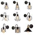 Лофт американский железный черный абажур настенный светильник винтажная клетка ограждение бра Лофт осветительный прибор Современное Внут...