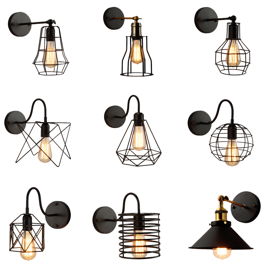 Loft American Iron black lampshade wall lamp vintage cage guard sconce loft lighting fixture modern indoor lighting wall lampsLoft American Iron black lampshade wall lamp vintage cage guard sconce loft lighting fixture modern indoor lighting wall lamps