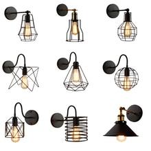 Lámpara americana de hierro negro para pared, lámpara de pared vintage, jaula de guardia, aplique de iluminación para Loft, lámparas de pared modernas para iluminación interior
