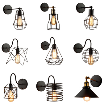 Loft American Iron black lampshade wall lamp vintage cage guard sconce loft lighting fixture modern indoor lighting wall lamps american loft style iron wall sconce creative gear led wall lamp industrial vintage wall light fixtures indoor lighting