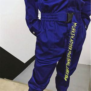 Image 5 - סרבל גברים ארוך שרוול חתיכה אחת סרבל Streetwear מכנסיים האופנה Loose מקרית סרבלי זכר היפ הופ נוסע מכנסיים YT5080
