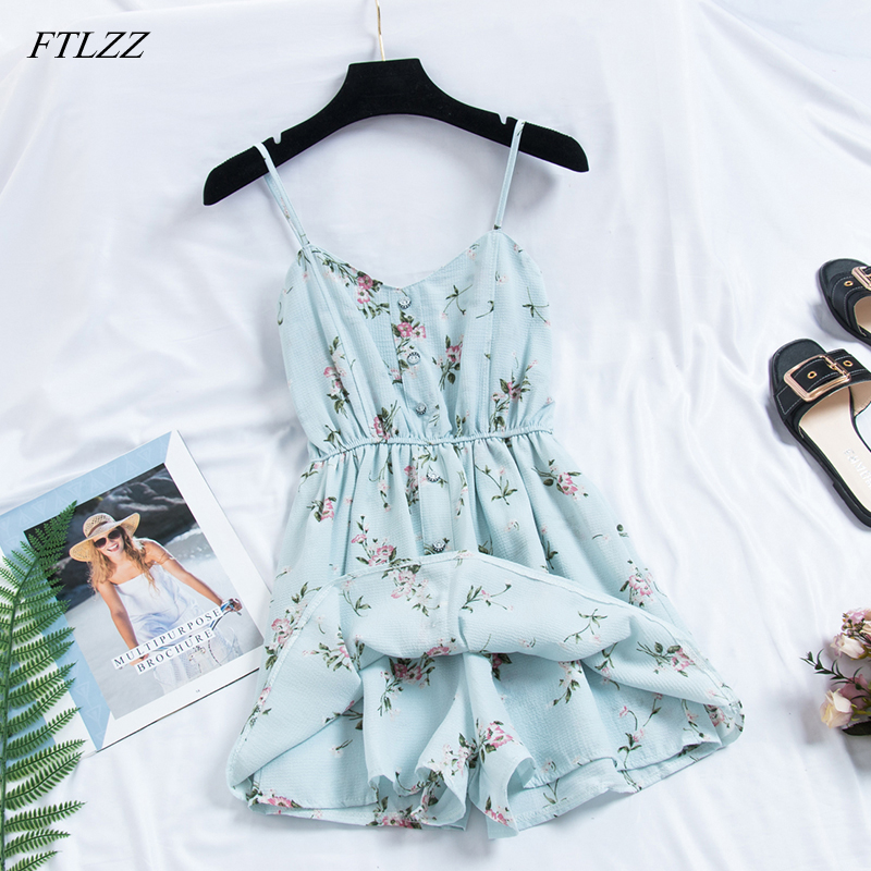 2019 Women Sexy Jumpsuit Floral Print Summer Female Beach Style Playsuit High Waist Romper Jumpsuit Overalls