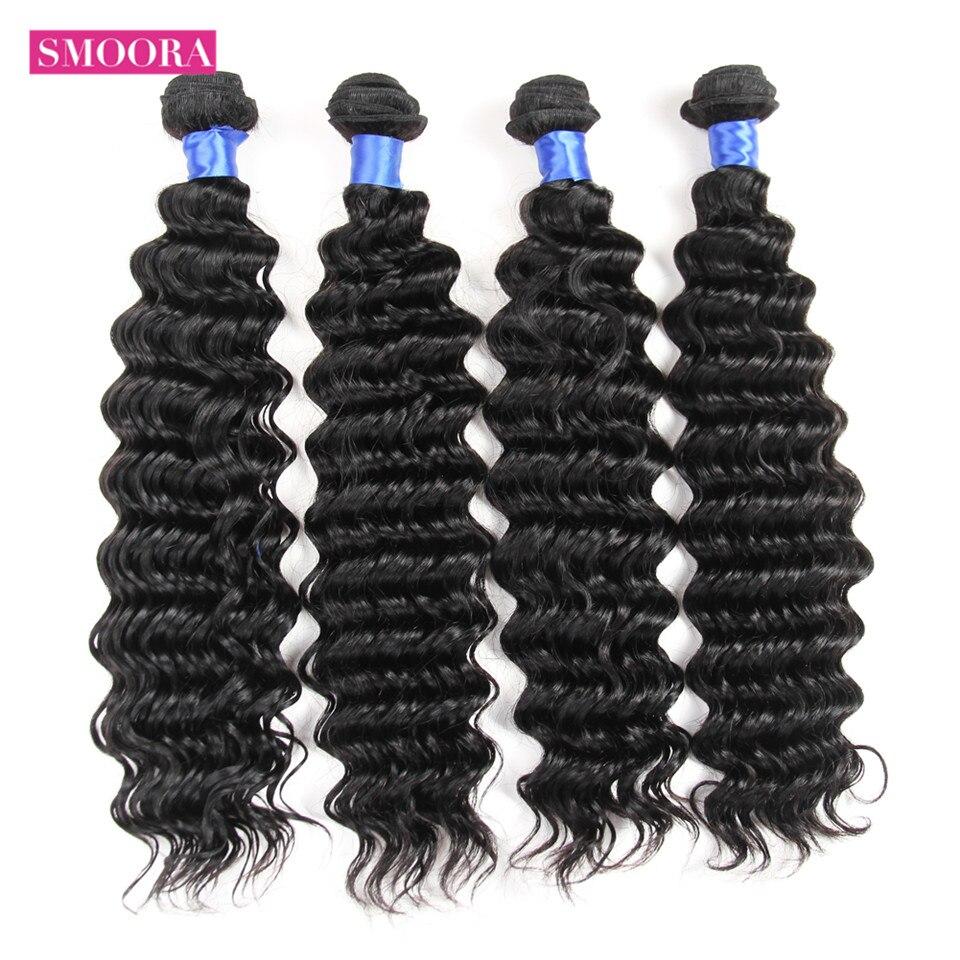Smoora Hair Pre-Colored  Deep Wave 4 Bundles Deal Natural Black Non  Curl  s Crochet 10-28 inch 1
