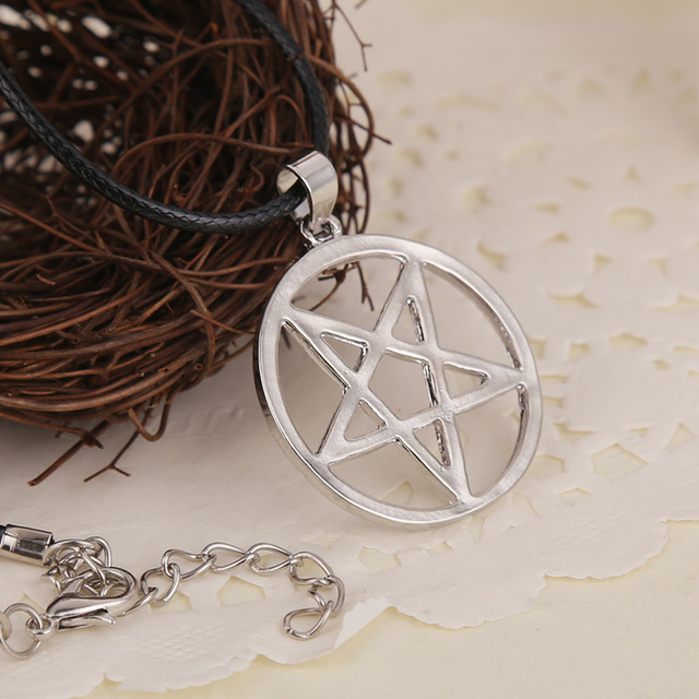 Black Butler Pentacle Pentagram Leather Rope Chain Pendant Necklace
