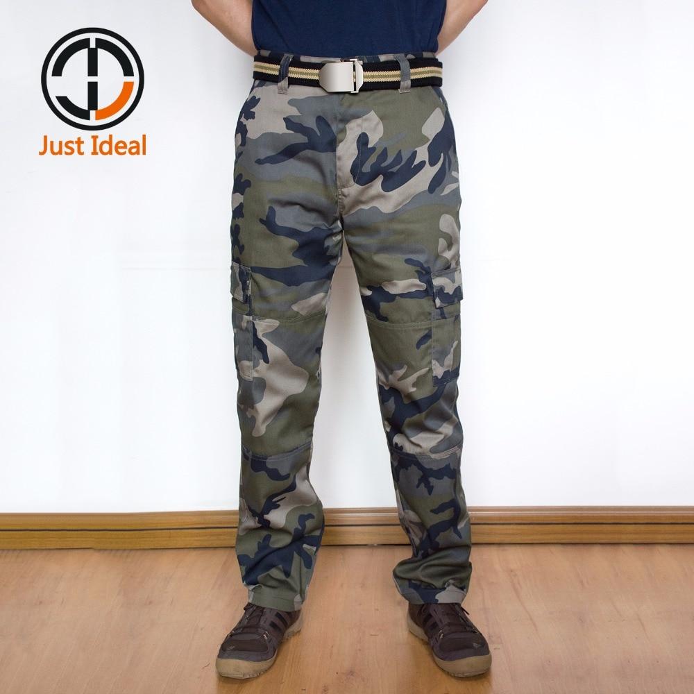 새로운 도착 남성 위장 패션 바지 일반 스트레이트 바지 다중화물 바지 군사 스타일 캐주얼 바지 플러스 크기 ID809