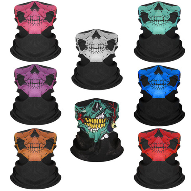 3D Skeleton Skull Seamless Magic Scarf Face Mask Fishing Cycling Ski Bandanas Outdoor Headband Tube Scarf Men Women Neck Scarves