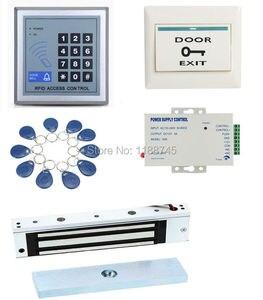 Полный комплект RFID система контроля допуска к двери 280 кг 620LB магнитный замок 110-240 В AC дверь ввод клавиатуры 10 брелоков кнопка выхода
