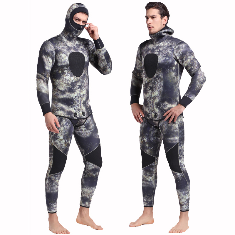 SBART Underwater Thick Warm Men Hooded 3mm Neoprene Spearfishing Wetsuit Two Pieces Diving Suits Surfing Sailing Camo Wetsuits I sbart 3mm neoprene diving wetsuit men