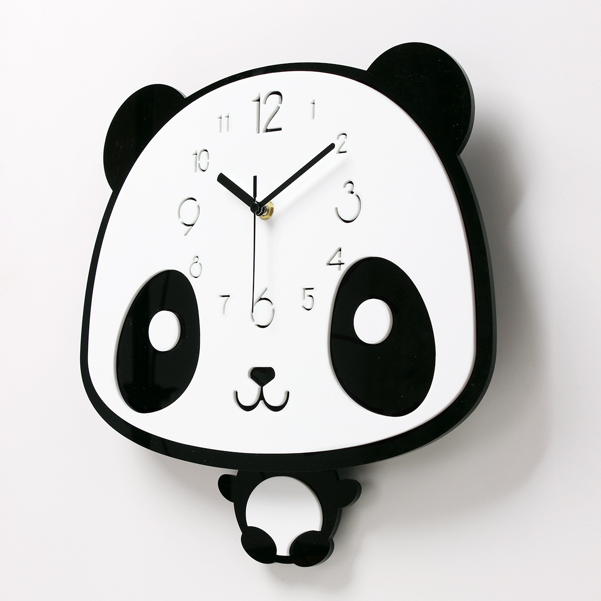 Mignon enfants chambre horloges murales Panda Type enfants cadeaux horloges murales décor silencieux muet maison horloge dessin animé horloge murale