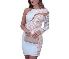 FGirl Ukraine Büro Kleid Party Kleider für Frauen White Lace Ausschnitt Schulter Cocktail-minikleid FG21532