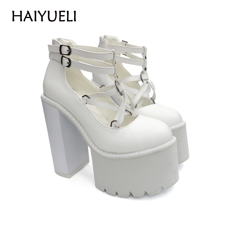 Black/White High Heels Punk Rock Women Ankle Boots Casual Pumps Platform High Heel Shoes Spring Punk Rock Thick Heel Shoes nayiduyun women casual shoes low top platform wedge high heels boots round toe slip on pumps punk chic shoes black white sneaker