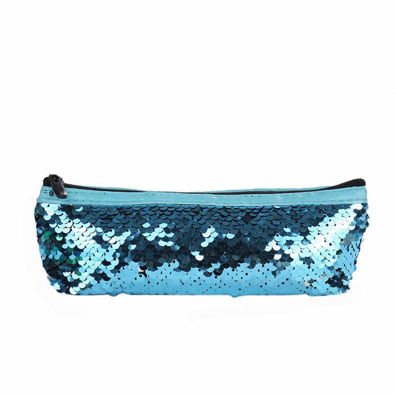 2019 Fashion Girls Sequins Cosmetic Bags Double Colors Handbag Make up Bag  Women Girl s Pencil Bags 3d511b95f232