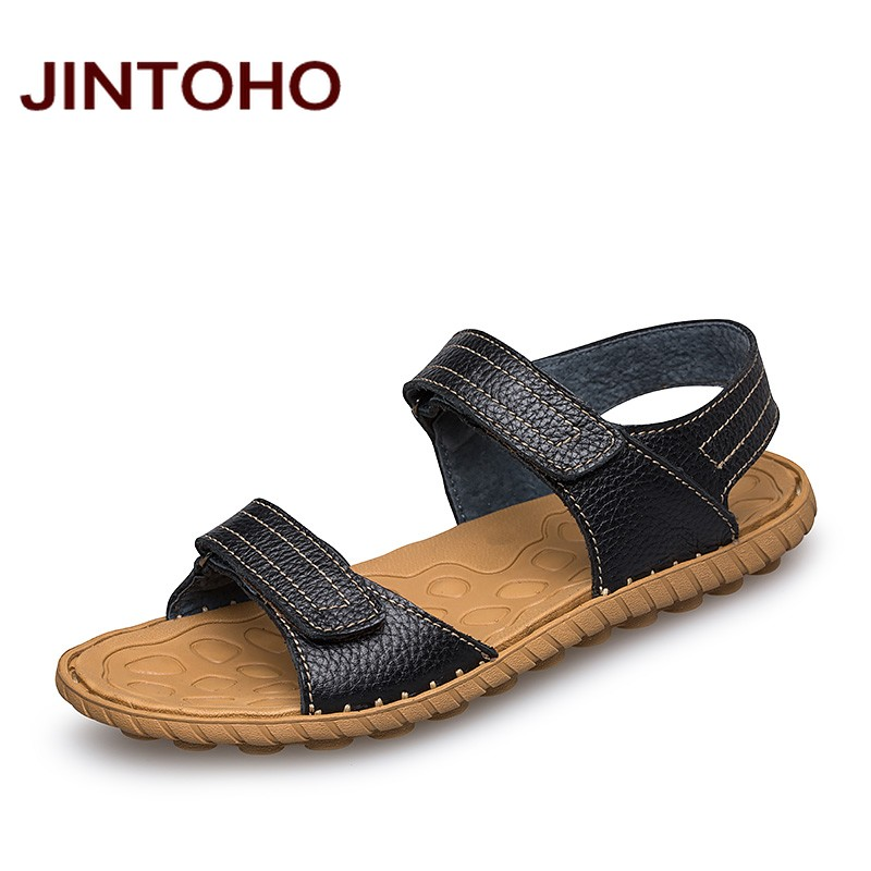 JINTOHO 2016 New Summer Leather Men Sandals Luxury Brand High Quality Genuine Leather Sandals Men Fashion Men Leather Sandals