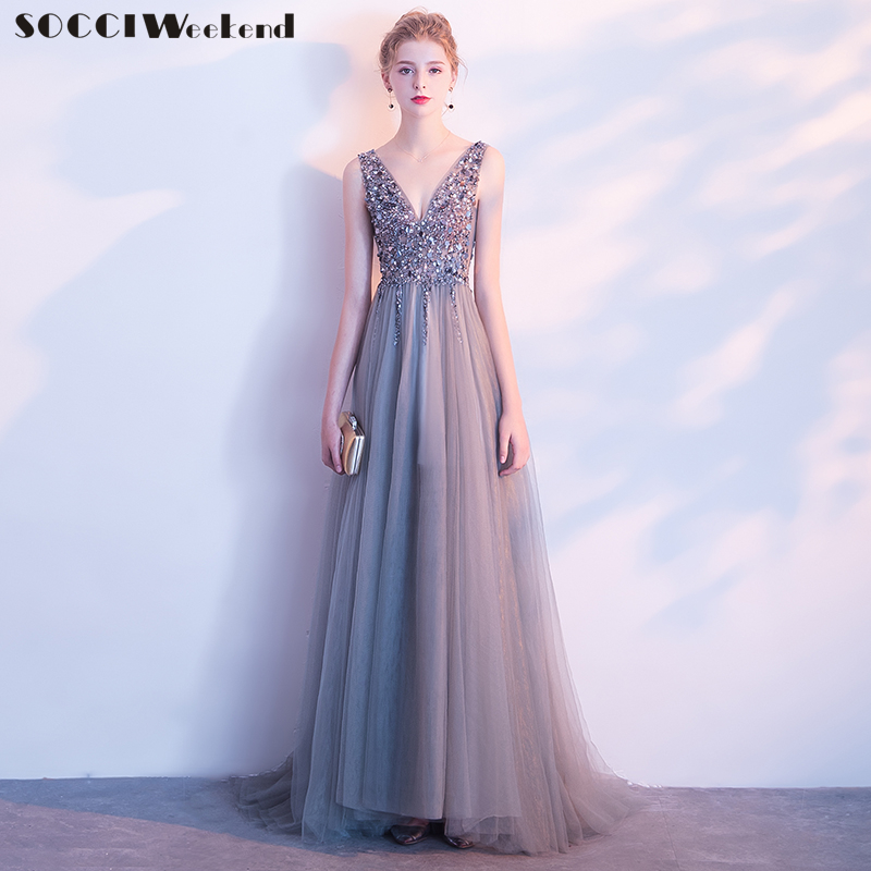 Sexy Evening Dress 2019 V-Neck Beads Open Backless A Line Crystal Long Formal Party Dresses Tulle Prom Gowns Vestido De Festa