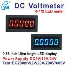 YB5145B светодиодный цифровой вольтметр постоянного тока 4 1/2 измеритель напряжения дисплей тестер dc200 мВ/2 в/20 в/100 в/200 В/300 В/500 В/600 В 4,5 Вольт Панель метр