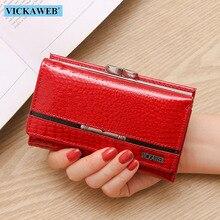 VICKAWEB cartera pequeña de retales de piel auténtica para mujer, billetera informal con cremallera y cerrojo