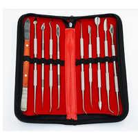 10 unids/set de acero inoxidable Kit versátil instrumento Dental equipo de laboratorio Dental con funda de soporte