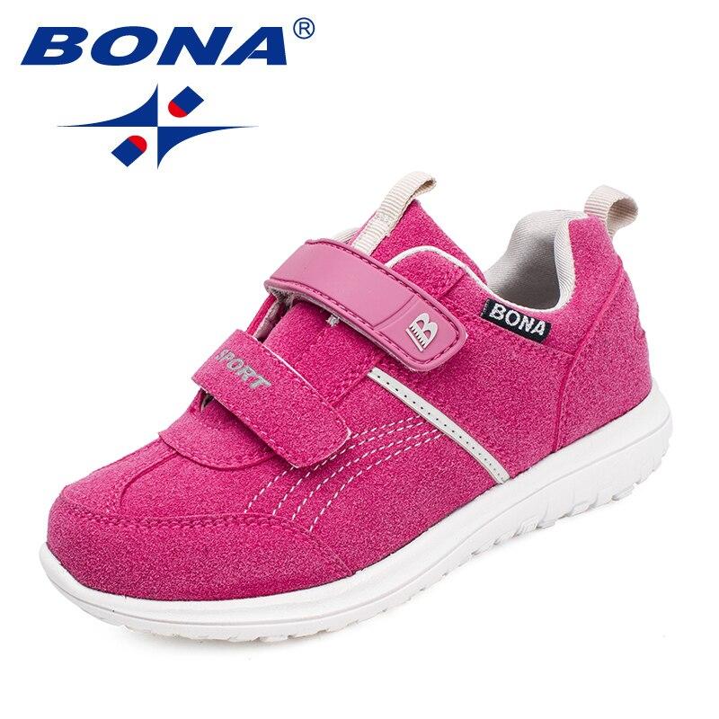 BONA/новая классическая детская повседневная обувь на липучках, обувь для девочек, обувь для мальчиков, уличные кроссовки, мягкие, бесплатная ...