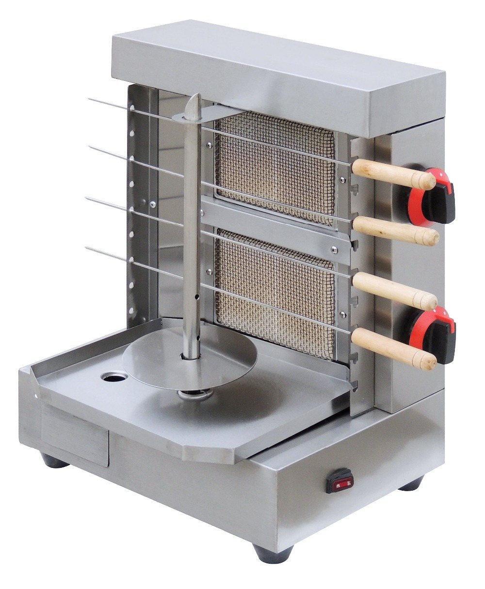 hot sale gas bbq shawarma machine with skewers stainless steel gas vertical rotisserie broiler mini gas barbecue kebab machine