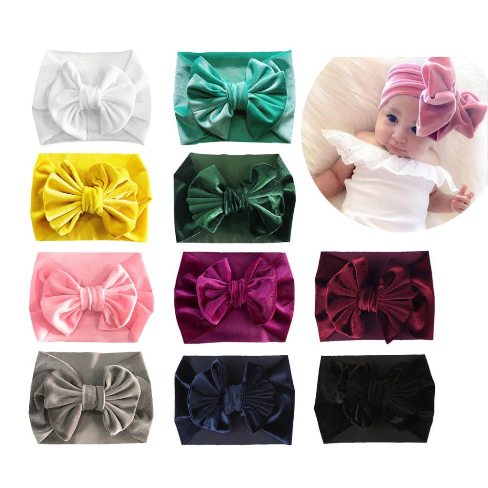 10 PACK Velvet Elastic Stretchy Wide Bowknot Headbands Hairband Bows Turban Wraps Holder Accessories for Kids Baby Girl Bulk