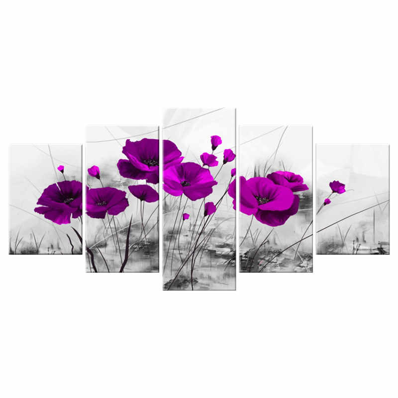 Kanvas Gambar Dekorasi Rumah 5 Potongan Alam Purple Poppy Bunga Lukisan Cat Merah Biru Bunga Kamar Tidur Poster Dinding seni