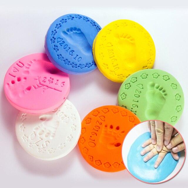 2 шт./лот горячие playdough baby care воздушной сушки handprint след imprimt малыш литья diy инструмент мягкий пластилин polymer clay toys