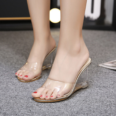 2018 Jelly Sandals Open Toe High Heels Women Transparent Perspex Slippers  Shoes Wedge Heel Clear Sandals Plus Size 34-41