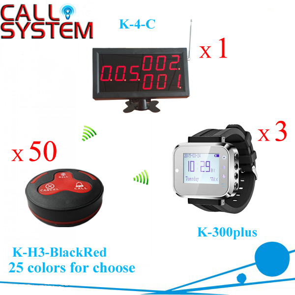 Calling System for restaurant 1 cashier board screen 3 waiter pager 50 table buzzers wireless equipment