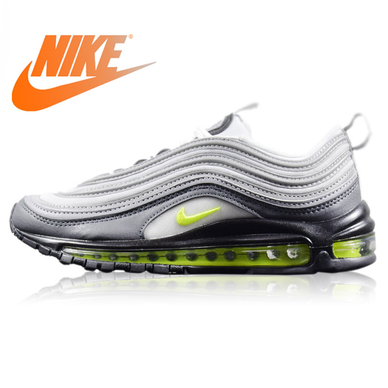 Original Nike Air Max 97 Neon Men's Running Shoes Wear resistant Light Gray Shock Absorption Non Slip Breathable 921733 003