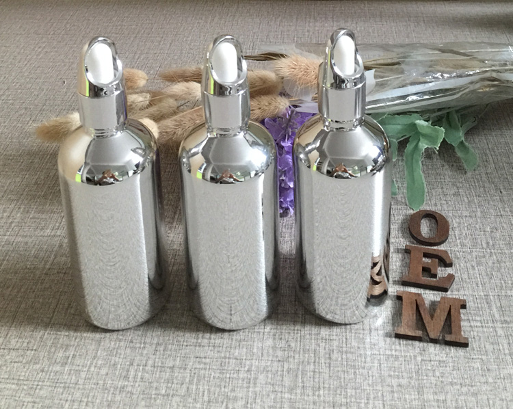 visokokakovostne 100pcs srebrne steklenice za kapljanje kapljic 100ml - Orodja za nego kože