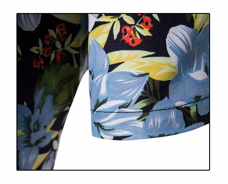 Для мужчин s Цветочная гавайская рубашка 2019 модные Цветочный принт футболка с коротким рукавом Для мужчин вечерние праздничная одежда для отдыха уличная мужская рубашка