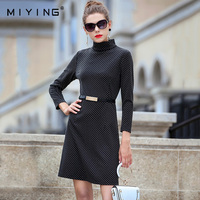 MIYING 2017 Autumn Women Dress High Class Knitting Turtleneck Dot Straight Dress
