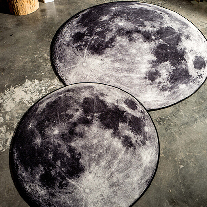 The Moon Print Round Floor Door Mat 3D Earth Rug And Carpet Kid Room Tapete Tapis Cuisine Carpets For Living Home Decor In From