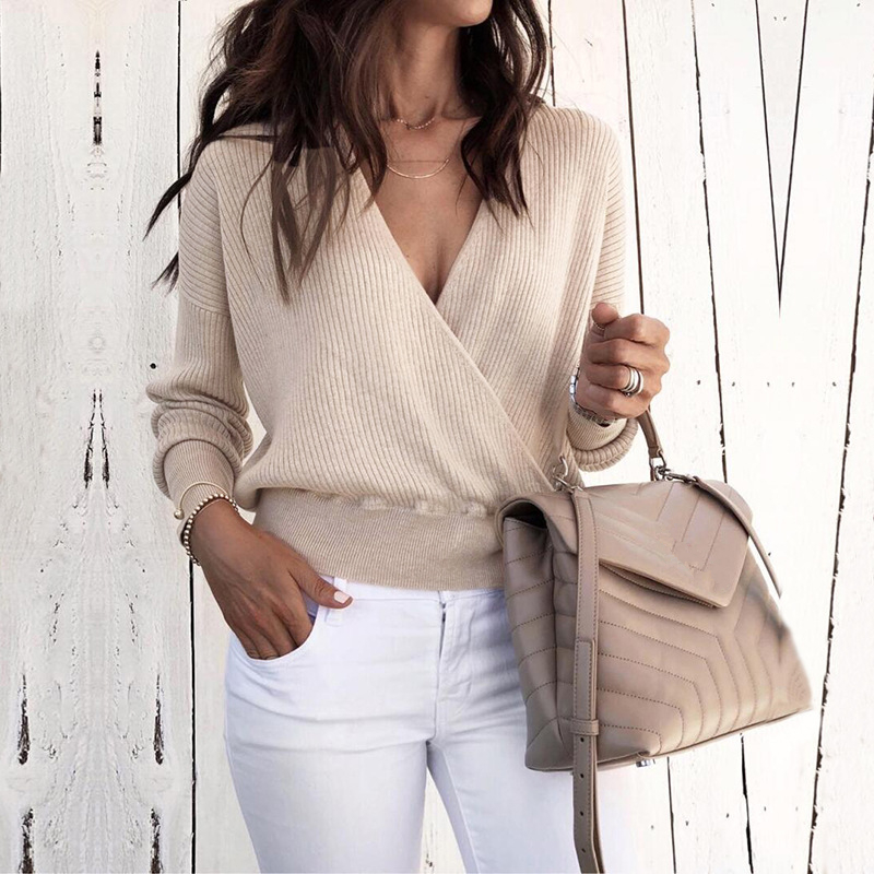 Fashion Spring Women Sweater Sexy Deep V-Neck Standard Solid Knitted Sweater Long Sleeve Pullover Casual Tops Blouse Shirt 311Y